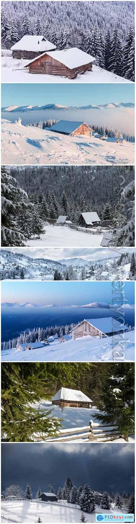 Winter landscape beautiful stock photo