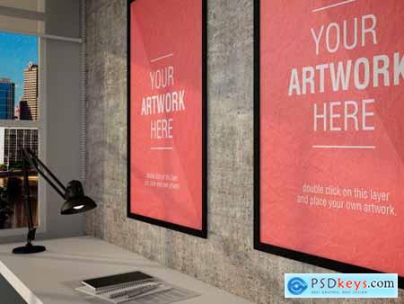 Framed Posters in Design Office Mockup