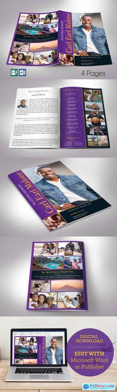 Purple Gold Funeral Program Word 4pg 4613025
