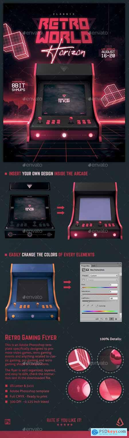 Video Games Flyer 80s Retro Gaming Arcade Mock Up Poster 24083505