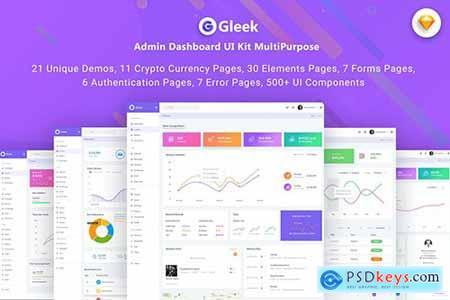 Gleek-Admin Dashboard UI Kit MultiPurpose (SKETCH)
