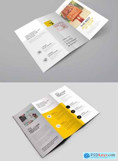 Business Trifold Brochure Layout with Yellow Accents 354420117