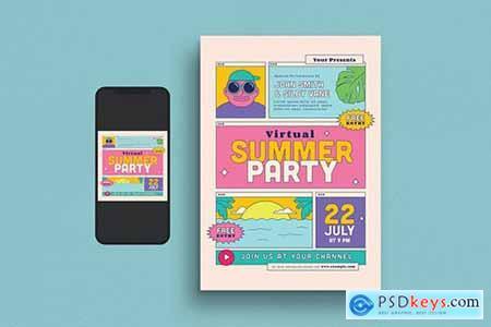 Virtual Summer Party Flyer Set