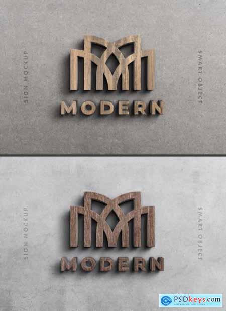 3D Wood Logo Sign Mockup on Dark Wall 354730599