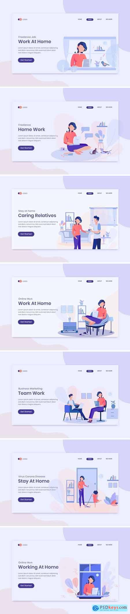 Stay At Home Concept On Landing Page