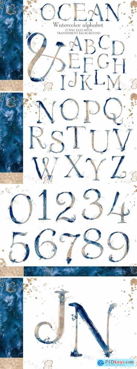 Abstract Watercolor Blue & Gold Alphabet 4264631
