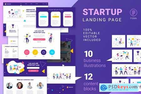 Landing page with vector illustrations