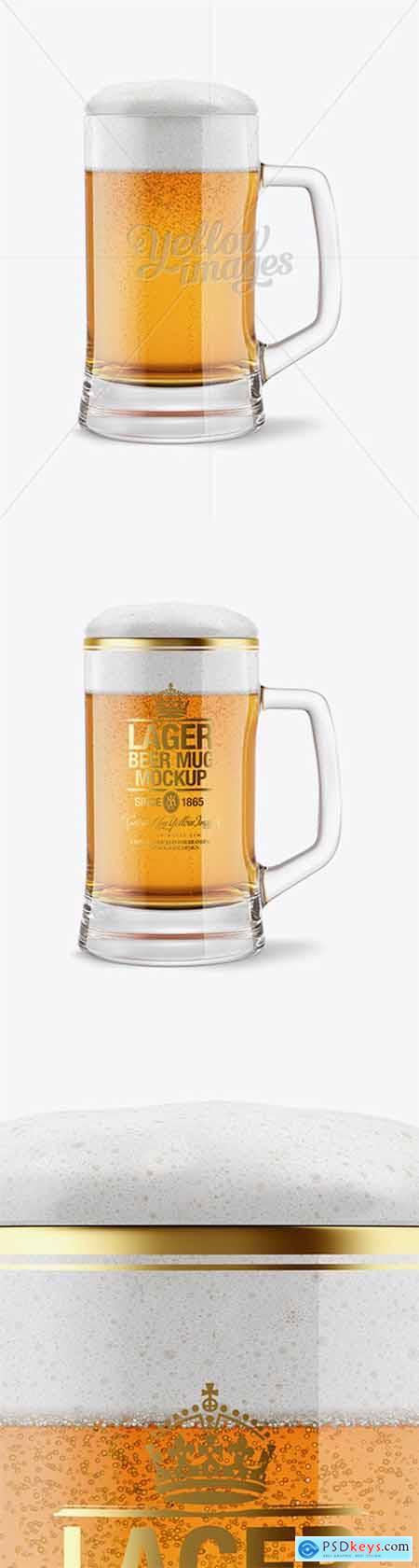 Tankard Glass Mug with Lager Beer Mockup 14664
