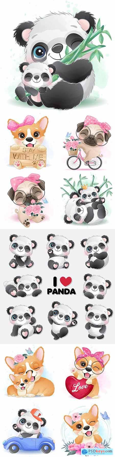 Cute panda, corgi and other animals with flowers