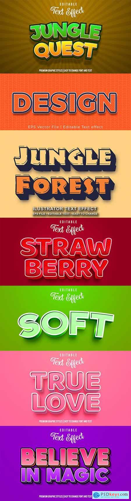 Editable font effect text collection illustration design 112