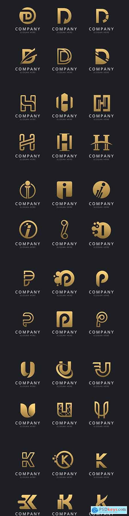 Initials and letter with golden style company logo template