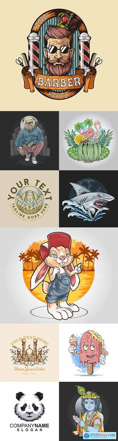 Logos and emblems different goods and services vintage design 2