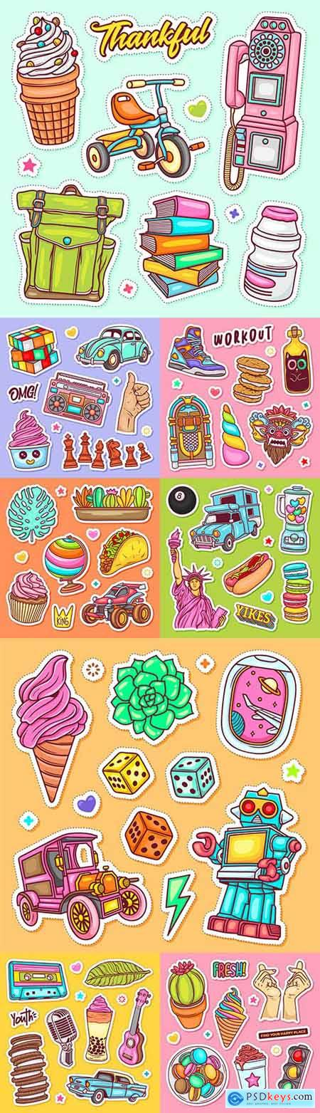 Label painted doodle coloring vector design