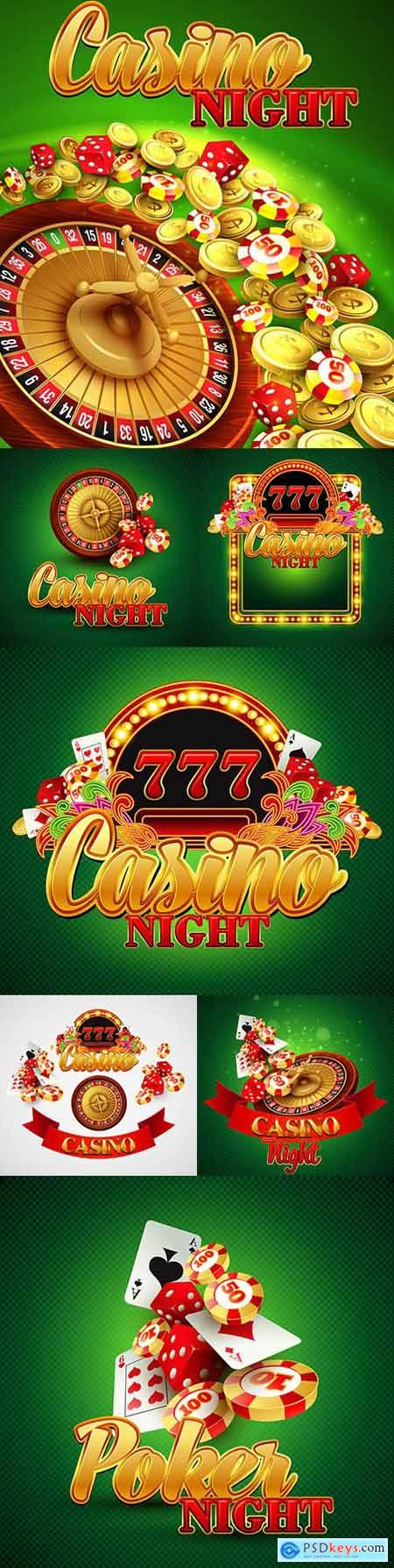 Casino background card with chips and roulette illustration
