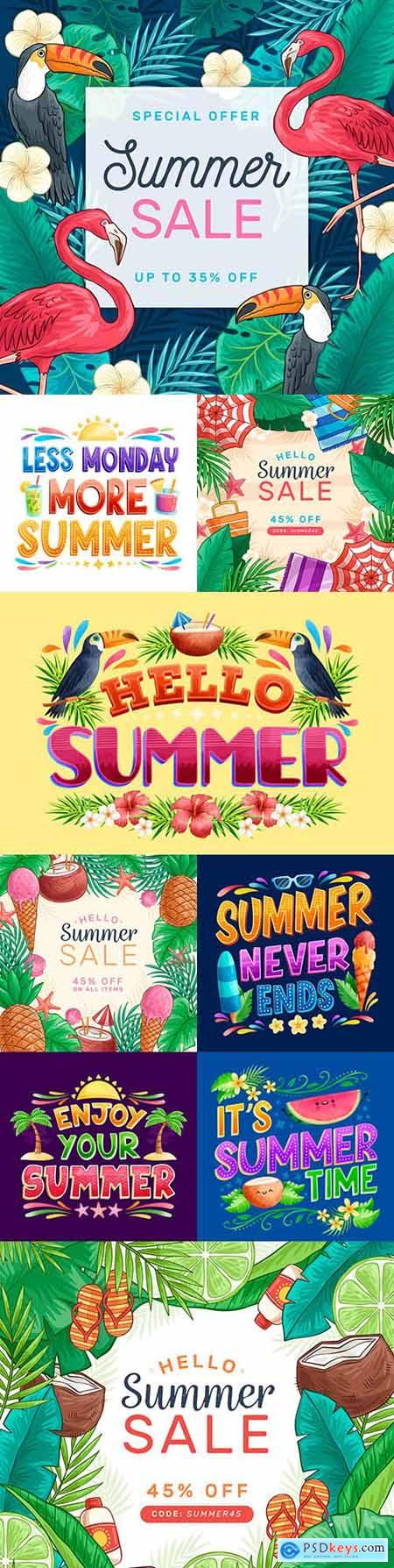 Summer sale painted design with thematic inscriptions