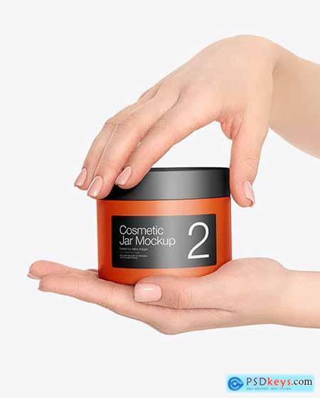 Cosmetic Jar in Hands Mockup 59253