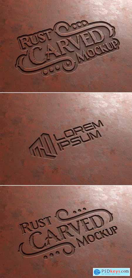 Carved Text Effect in Rusted Metal Mockup 355043324