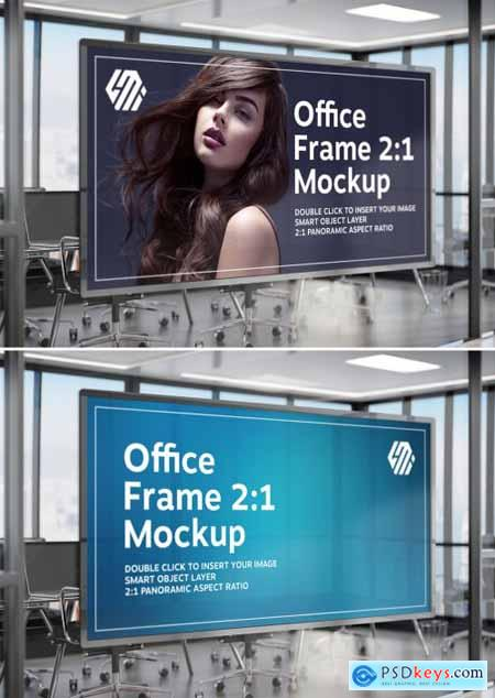 Frame Hanging on Office Glass Window Mockup 355044721
