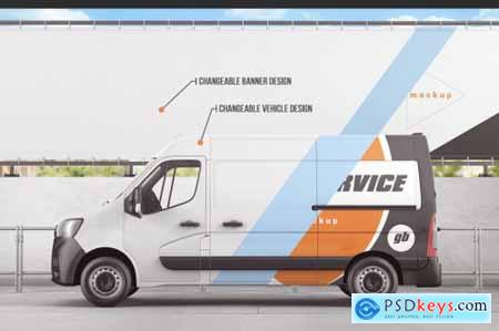 Vehicle With Outdoor Advertising Banner Mockup