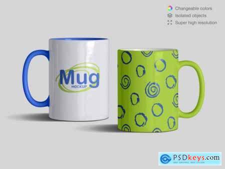 Realistic front view classic ceramic mugs mockup