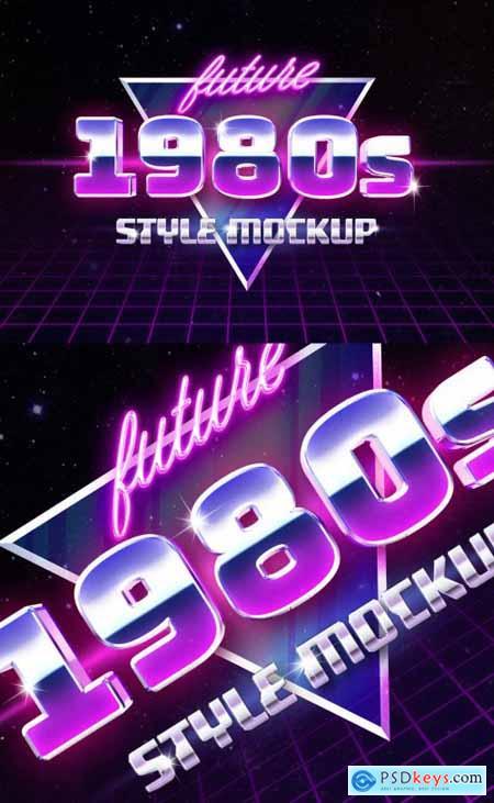 Retro 80s Style Logo Text Effect Mockup 355528615