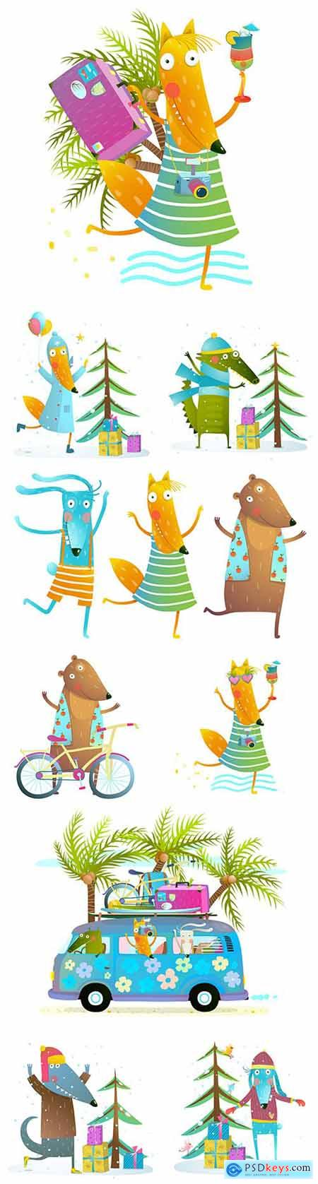 Cute animals in summer dance and daylight saving time play