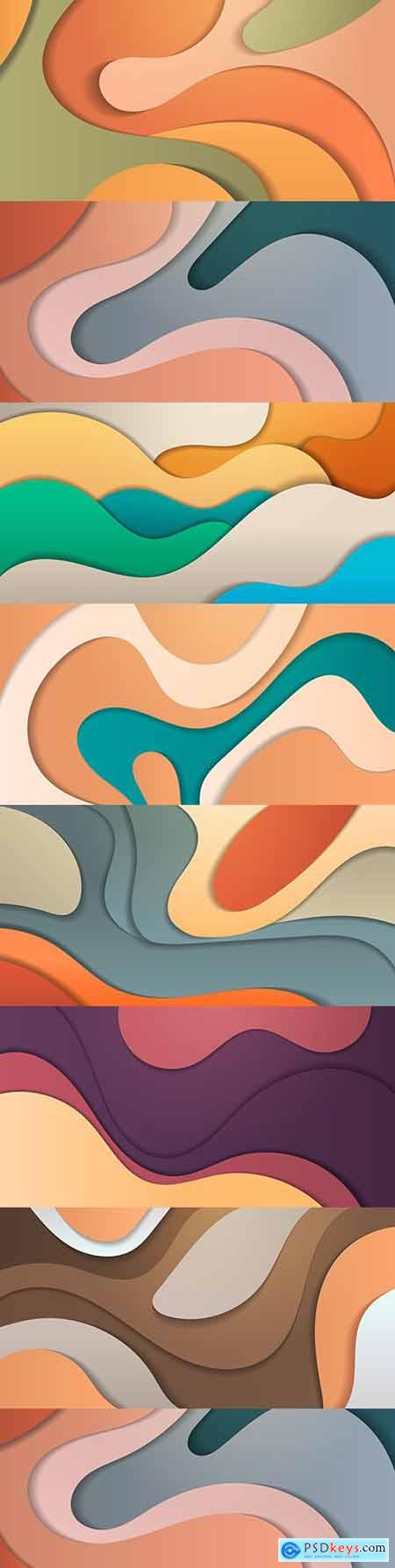 Paper cut composition abstract background with colorful waves
