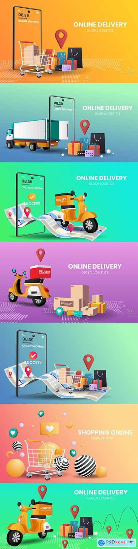 Online shopping internet delivery products and goods