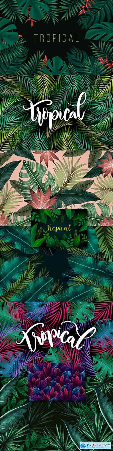 Summer tropical leaves and inscriptions decorative background