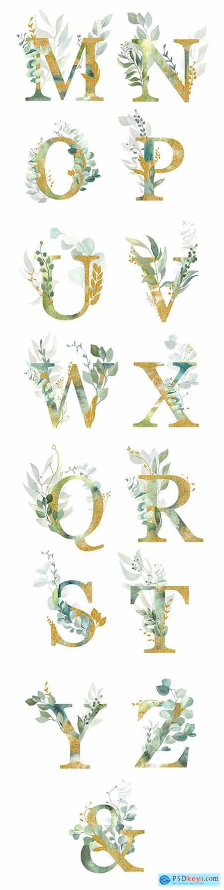 Gold letters with decorative leaves for design