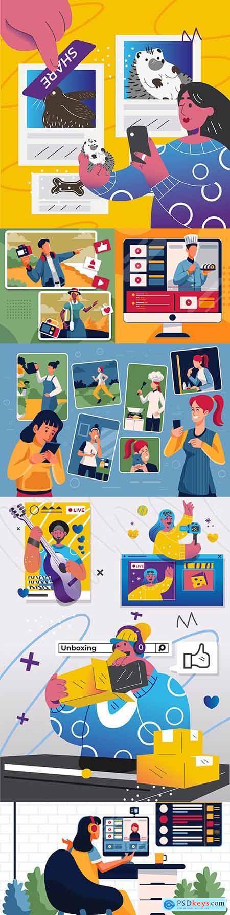 Video blogger shares content on social media illustration