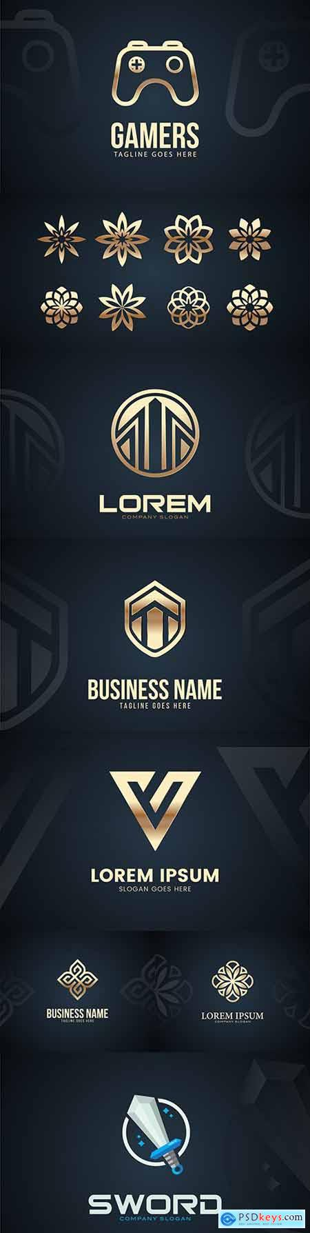 Modern and luxurious design template logo gold color