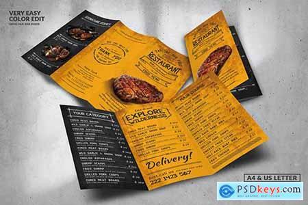 Trifold Vintage Food Menu Design A4 & US Letter