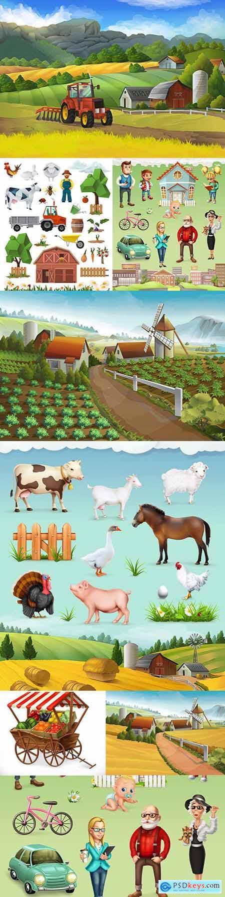 Farm and animal rural landscape vector illustrations
