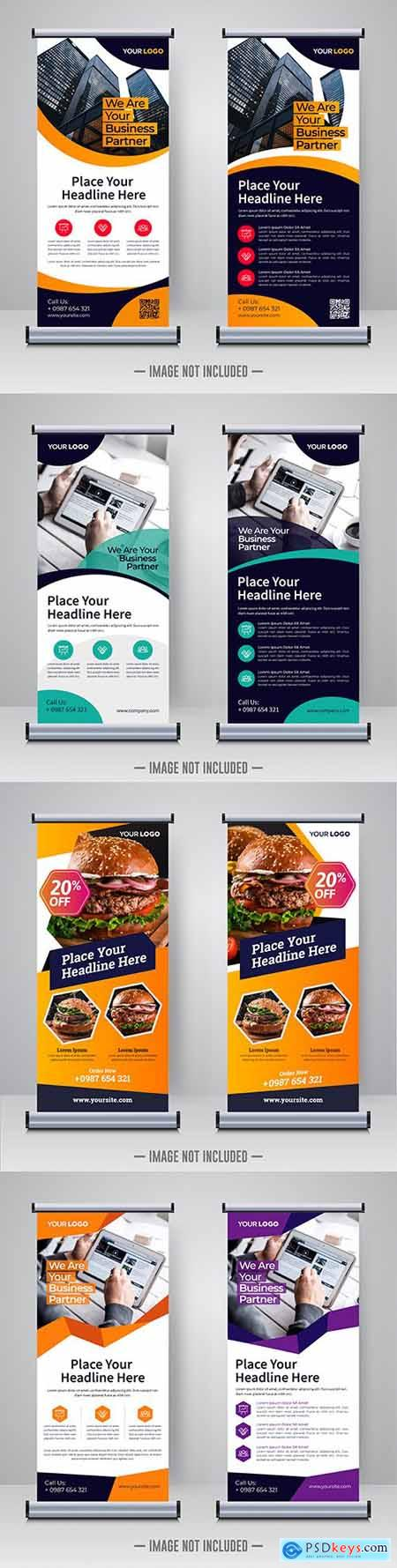 Modern corporate roll and banner design template
