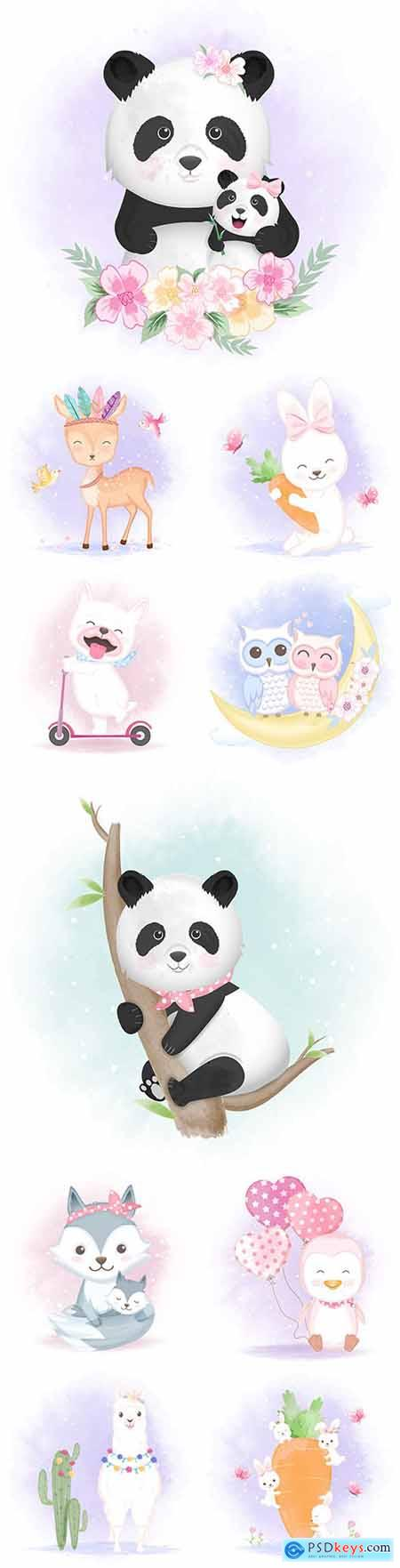 Funny animals cartoon watercolor with flowers illustrations 34