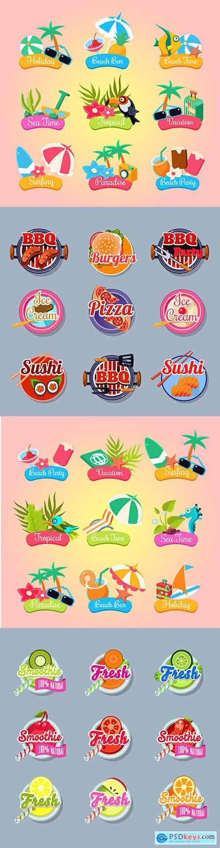 Summer party and fresh food sticker label set