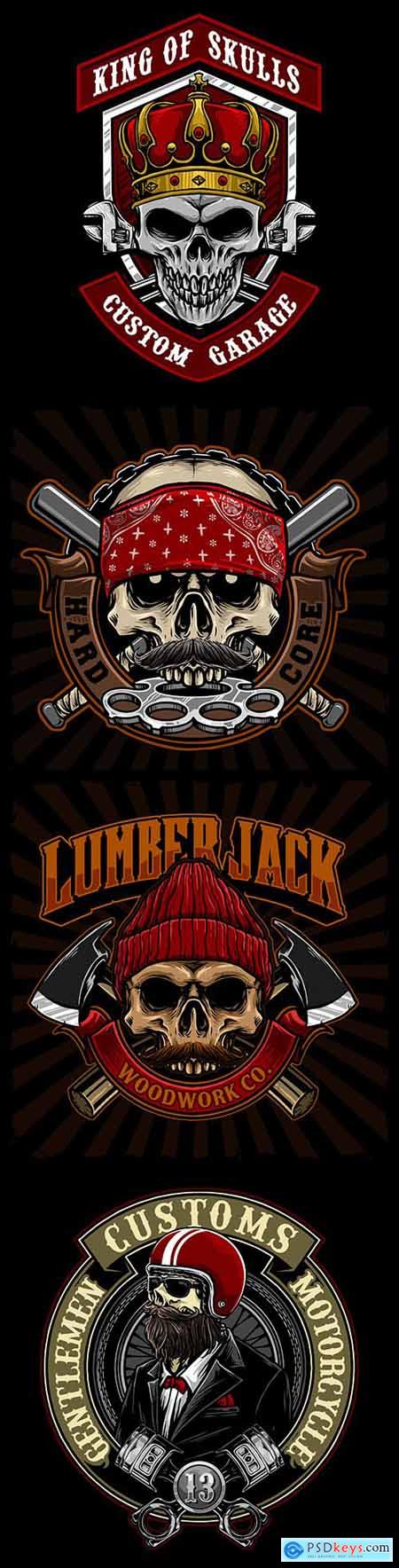 Skull and retro biker style weapons design emblems