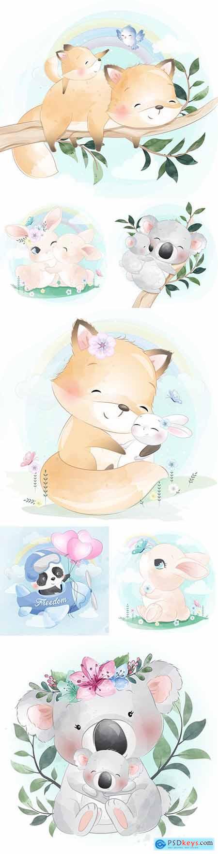Funny animals cartoon watercolor illustrations 33