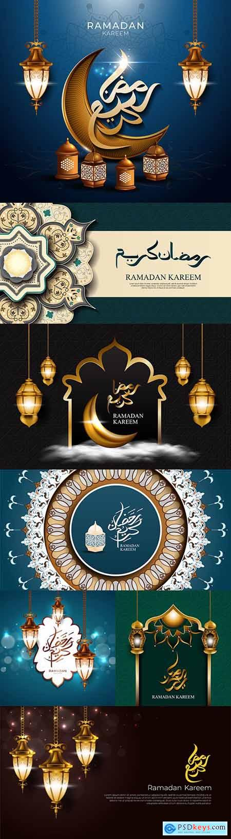 Ramadan Kareem Islamic postcard design illustrations 20