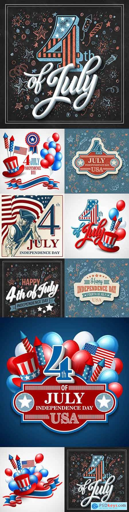 July 4 Independence Day America design illustrations