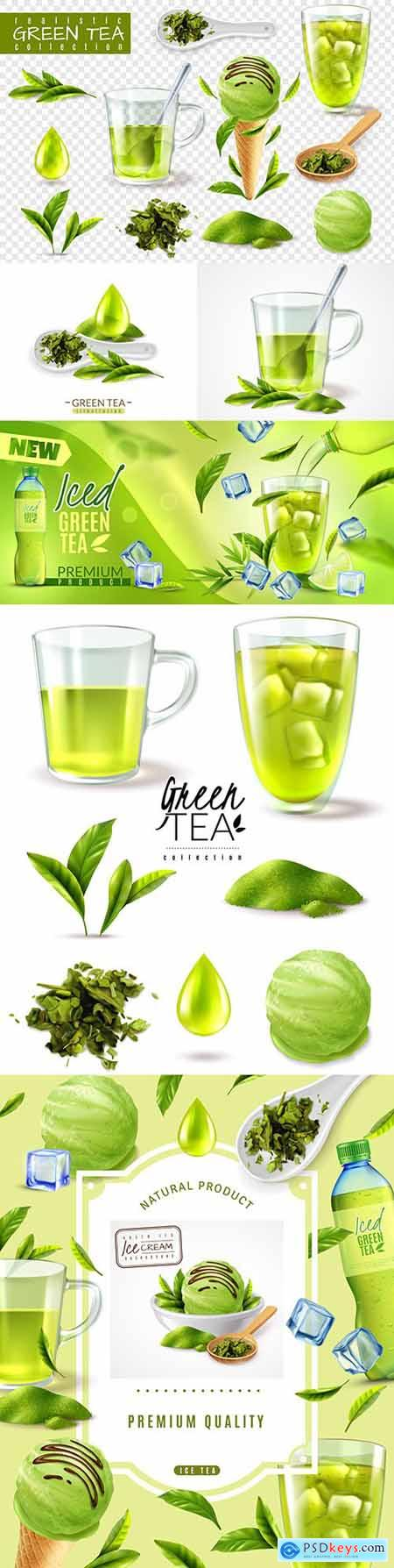 Realistic green iced tea and ice cream set illustration