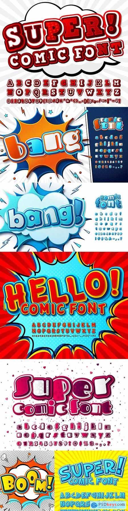 Comic font and funny cartoon alphabet pop art style