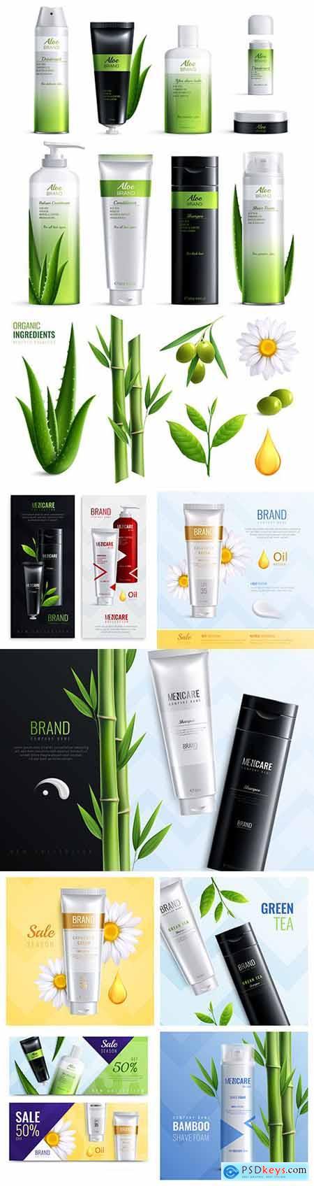 Organic cosmetics and ingredients realistic set design