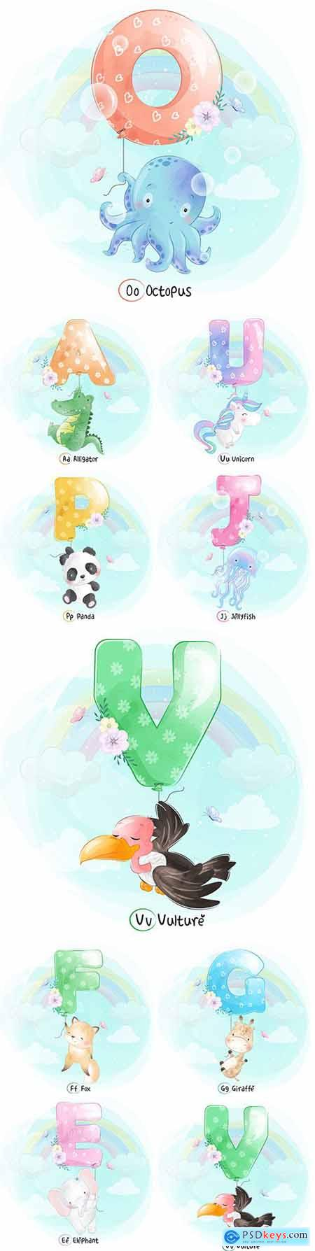 Cute little animals with decorative illustration letters