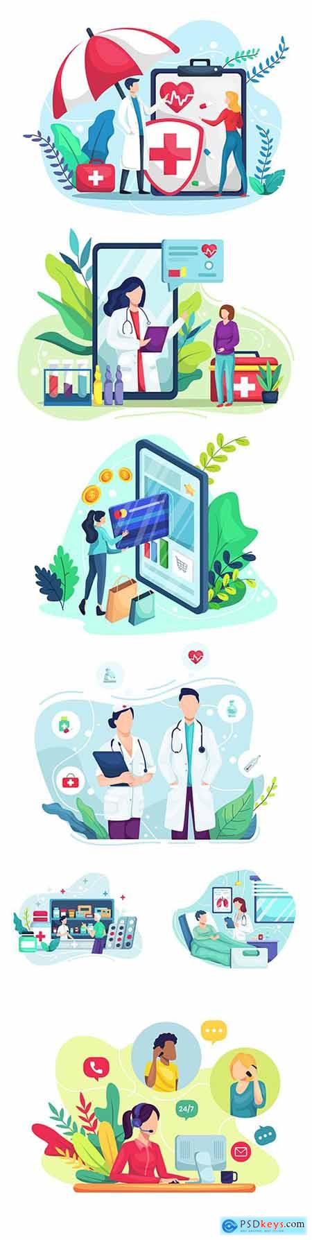Health insurance and shopping online illustration concept