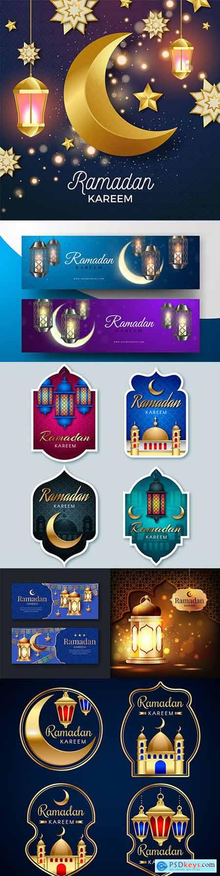 Ramadan Kareem Islamic postcard design illustrations 21