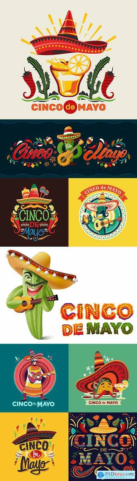 Synco de Mayo Mexican holiday premium illustration