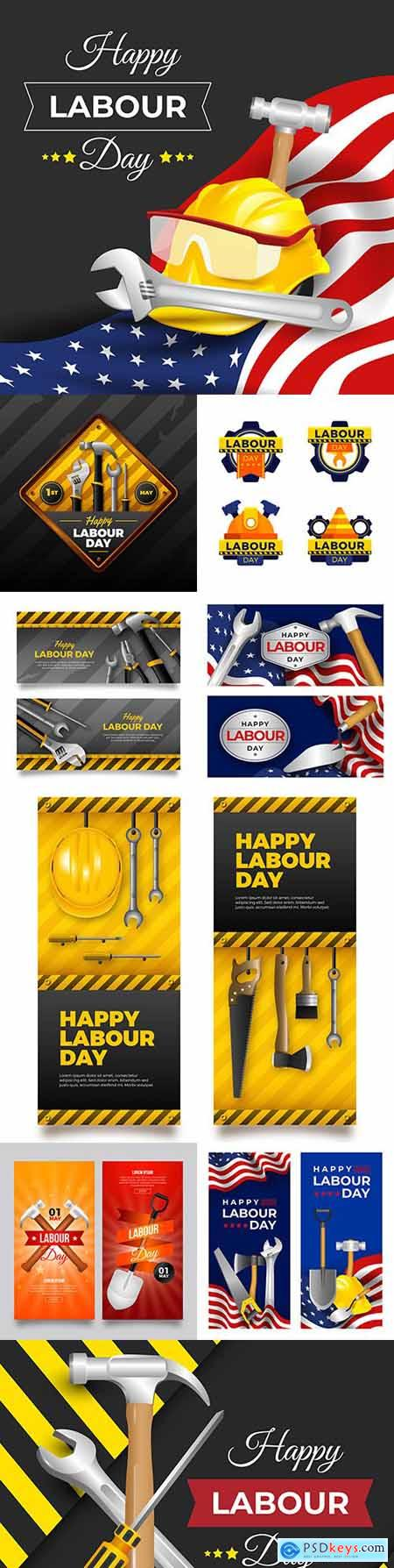 Happy Labor Day with instruments realistic banner
