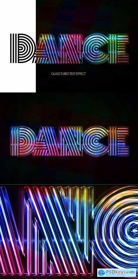 Glass Tubes Eighties Disco Text Effect Mockup 356998571